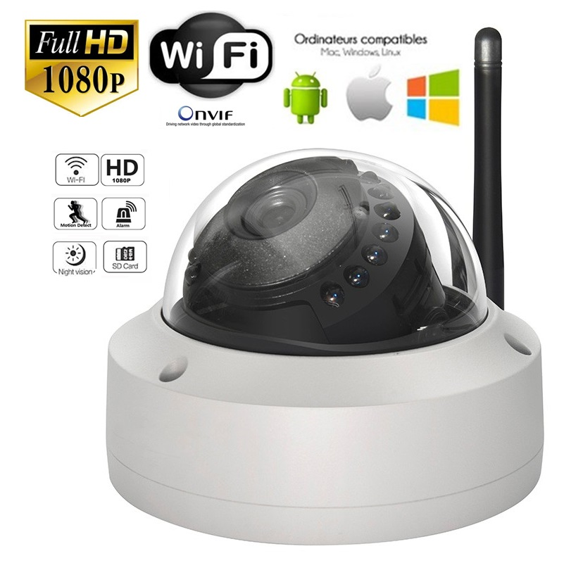 2.0 Mpx FULL HD 1080p venkovní Dome IP kamera, WiFi, LAN, IR LED 15m
