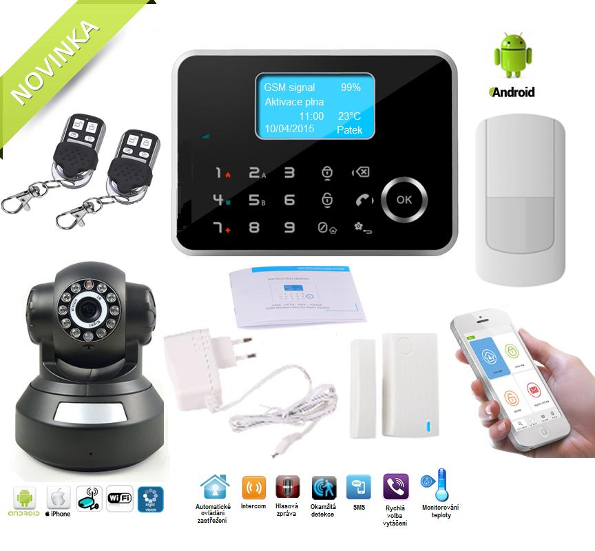 Bezdrátový APP/GSM/LCD alarm systém s IP kamerou Model: AS-G190E / verze černá