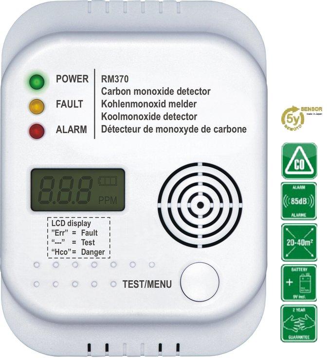 Detektor oxidu uhelnatého s LCD displejem a digitálním teploměrem Model: RM370